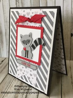 Stampin' Up! Foxy Friends stamp set, Converted into Ricci Raccoon! Foxy Friends Punch, Cards For Friends, Stampin Up Foxy Friends Cards, Stamping Up Cards, Animal Cards, Love Cards, Creative Cards, Kids Cards, Scrapbook Cards