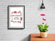 Throw kindness around like confetti -  Digital printable handwritten print floral download quote flower calligraphy handwritten motivation positivity home decor happy happiness