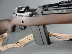 Springfield Armory M1A SOCOM 16. This is a 7.62x51 (.308) carbine descended from the M1 Garand. The M1 Garands in .30-06 caliber were issued to our infantry in 1936 as the first semi-auto battle rifle. The M14, based on the M1, was issued starting in 1959 in 7.62x51 (.308 Winchester). Although no longer the primary rifle of the military, the M14 and it's more modern, accurate cousins the M21 and M25 sniper rifles, also in 7.62x51, are currently in use by designated marksmen and special…