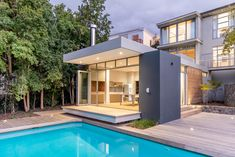 This Stellenbosch family home is satisfyingly modern, but also an oasis of tranquillity in a […] Home Design Plans, Plan Design, Narrow Staircase, Building A New Home, Open Plan Living, Old Houses, Living Spaces, House Plans, Home And Family