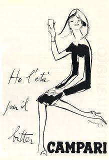 """Ho l'età per il Bitter Campari"" - Franz Marangolo - 1964 Vintage Italian Posters, Vintage Advertising Posters, Advertising Slogans, Vintage Advertisements, Retro Logos, Retro Ads, Vintage Wine, Vintage Ads, Campari And Soda"