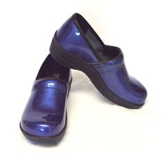 Sanita Loreli Patent Leather Closed Back Clogs 5.5-6/36 Blue Cute Sassy Comfy #Sanita #ClosedBackClogs #WeartoWork