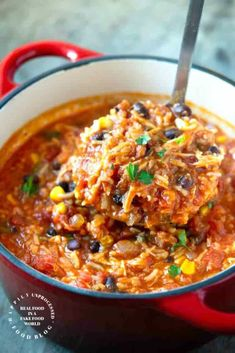 Chicken Tortilla Soup with Rice - Happily Unprocessed Tender shredded chicken is combined with bold spices, fire roasted tomatoes, chicken broth, corn, beans and rice for a very filling and satisfying soup! Chicken Taco Soup, Chicken Recipes, Chicken Tortilla Soup With Rice Recipe, Recipes With Shredded Chicken, Mexican Chicken Stew, Mexican Tortilla Soup, Rotisserie Chicken, Crockpot Recipes, Cooking Recipes