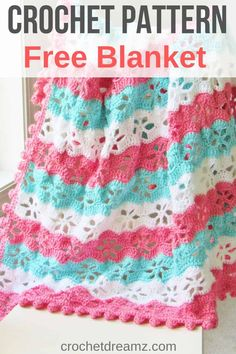 This crochet blanket free pattern features a beautiful floral stitch with a pom pom border. Step by step pictures make it easy for beginners.Try it today. Crochet Afghans, Crochet Baby Blanket Free Pattern, Easy Crochet Blanket, Crochet Blankets, Crotchet Baby Blanket, Baby Afghans, Crochet Crafts, Crochet Projects, Crochet Toys