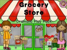 Grocery Store Dramatic Play PackThis pack contains everything you will need to set up a dramatic play grocery store in your classroom!Included in this pack:Included:-Picture examples of how I set it up in my classroom-Open/Closed signs (small and large)- Market Kids Grocery Store sign-Please Pay Here sign (US $ and Canadian $)-Credit Cards & Play Money (US $ and Canadian $)-2 sale signs-Aisle signs (Produce, Deli, Bakery, Dry Goods, & Cold Goods)-Store Department Dcor -2 pages of coup...