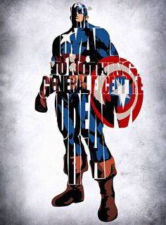 Captain America Inspired Typographic Print and by GeekMyWalL, $25.00