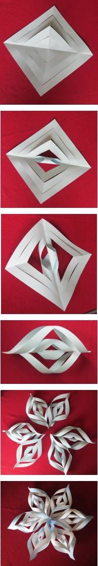 3d-paper snowflake...did this with 5th graders a few years ago and they LOVED them!