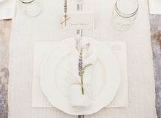 Lavender-Placesetting  Add a heart cutout with the name of the guest