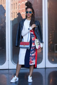 abstract pattern dress, box braids and adidas superstar sneakers - Elaine Welteroth.