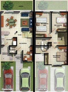Casas en Venta y Departamentos: Casa Muestra Modelo Sabal Fracc. Dream House Plans, Small House Plans, House Floor Plans, My Dream Home, Small House Layout, House Layouts, House Construction Plan, 2 Storey House, Narrow House