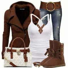 Love winter styles!! Brown Warm Jacket and White Blouse, Ugg Boots and Suitable Handbag, Jeans and Belt