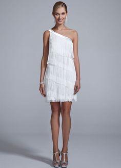 One Shoulder All Over Fringe Dress - David's Bridal