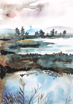 landscape watercolor painting . giclee fine art by SangtheSwallow