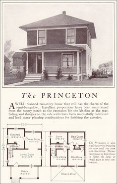 American Foursquare 1922 Lewis Princeton Antique Home Style Small House Plans Square