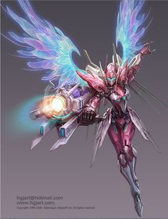 fantasy character concept art design, female mech warrior with angel wings by Guangjian Huang.