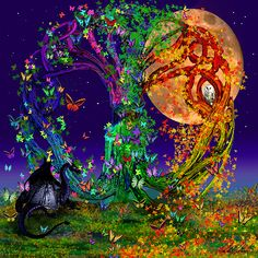 #Tree of Life with #Owl & #Dragon by Michele Avanti #halloween