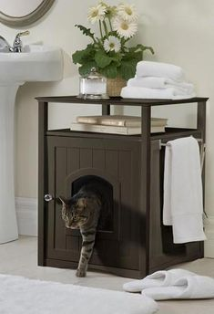 ♥ Cool Cat Accessories ♥ Conceal your cat's litter box in style with this Espresso Cat Washroom. This color is designed to match trendy dark wood furniture and accessories, and is suita Cat Box Furniture, Dark Wood Furniture, Office Furniture, Furniture Dolly, Furniture Market, Furniture Makeover, Litter Box Covers, Cat Room, Diy Stuffed Animals
