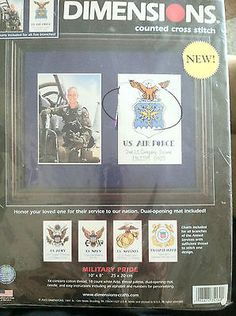 Military Pride Counted Cross Stitch Kit Dimensions NEW Army Navy Marines 10x8