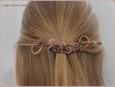 Copper Hair Slide Elegant Red Crystals Wire by CopperStreetStudios