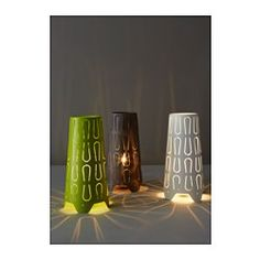 IKEA - KAJUTA, Table lamp, , Creates a decorative light pattern in the room when the light shines through the perforated shade.Small and easy to place anywhere you want to bring some coziness and mood lighting into your home.