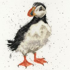 Cross Stitch Kits This cheeky Puffin design by Hannah Dale is worked on 14 hpi speckled Aida in stranded cotton. Full cross stitch and back stitch are used. Your kit includes: colour chart, 14 count speckled Aida fabric, DMC threads and needle. Cross Stitch Cushion, Cross Stitch Fabric, Cross Stitch Bird, Counted Cross Stitch Kits, Cross Stitch Designs, Cross Stitch Embroidery, Embroidery Patterns, Cross Stitch Patterns, Cross Stitching