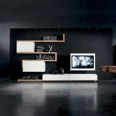 Contemporary TV wall unit / lacquered wood / elm SIDE 7 Fimar Srl