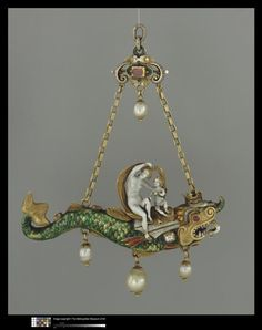 Pendant: Venus & Cupid riding a sea monster. c. 1580. Germany