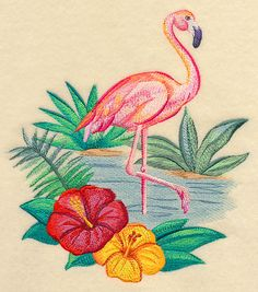 Flamingo and Hibiscus in Watercolor design (M6089) from www.Emblibrary.com