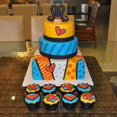 Romero Britto cake and cupcakes! I should try to make these cupcakes! Cake & Co, Cake Art, Best Cake Ever, Daisy Cakes, Food Artists, Love Cake, Pretty Cakes, Tiered Cakes, Cupcake Cookies