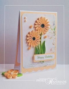 Paper quilling birthday wishes card quilled handmade by joscinta sweet handmade happy birthday quilling card peach m4hsunfo