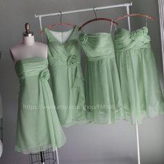mix match style bridesmaid dresses / Romantic /pale pink / dresses /Fairy / Bridesmaid / Party dress/ wedding dress/ Bride (E002 MINT). $98.00, via Etsy.
