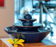 A water feature would've nice for the space, not necessarily this one, but something for the sound and ambiance. Pisa Blue - Ceramic Indoor Water Feature