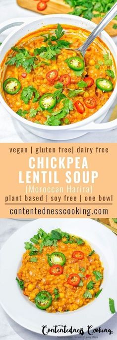 This Moroccan Chickpea Lentil Soup ( Harira) is full of fantastic flavors. It's vegan, gluten free and made with chickpeas and lentils for the ultimate texture. An easy one pot dairy free dinner or (Vegan Gluten Free Meals) Dairy Free Recipes, Veggie Recipes, Soup Recipes, Whole Food Recipes, Cooking Recipes, Healthy Recipes, Gluten Free, Recipes Dinner, Lentil Recipes