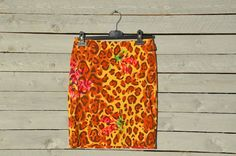 Versace animalier floral print mini skirt by RoaringRetro on Etsy, $80.00
