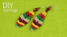 How to make a multicolored macrame leaf earrings. You can change the color of the earrings in one color or in different colors of your choice. You can make t...