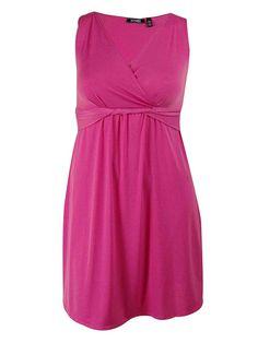 Elementz Women's Sleeveless Twist Front Faux Wrap Dress: Amazon Fashion