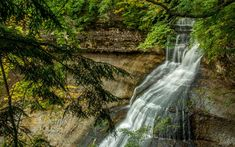Download wallpapers mountain waterfall, forest, rock, river, beautiful waterfalls