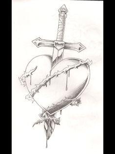 Sword bleeding rose tattoo – yahoo image search results - Lombn Sites Sad Drawings, Dark Art Drawings, Tattoo Design Drawings, Art Drawings Sketches Simple, Pencil Art Drawings, Drawings Of Hearts, Broken Heart Drawings, Broken Heart Art, Broken Heart Tattoo