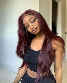 Thriving Hair Virgin Human Hair Pure Burgundy Red Color Silky Straight Lace Front Wigs for Burgundy Hair Black Girl, Red Brown Hair Color, Girls With Red Hair, Hair Color For Black Hair, Burgundy Hair Dark Skin, Red Hair Sew In, Dark Cherry Hair, Dark Red Hair Burgundy, Red Color