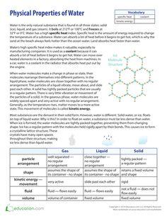 Printables Properties Of Water Worksheet physical properties of water elementary science matter 4th worksheets water