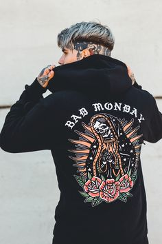 We collaborate with artists worldwide and in house to create unique tattoo inspired clothing. Shop mens hoodies and sweats now.