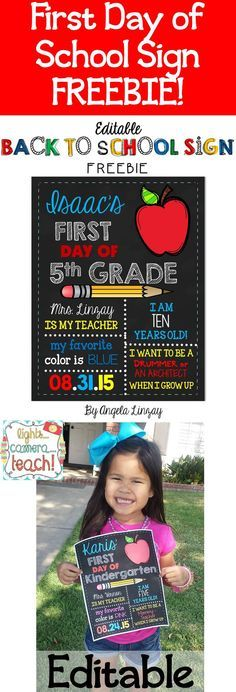 Free editable first day of school sign! Great way to record beginning of the year information!