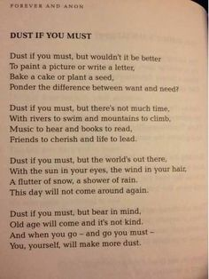 Dust if You Must poem. Perspective.