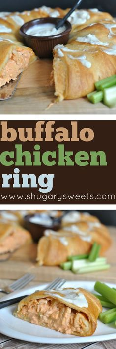 Delicious Buffalo Chicken Ring makes the perfect game days snack idea for all your favorite fans, or it's the perfect meal! You decide! Don't forget to whip up a batch of homemade blue cheese dressing to serve with this recipe!