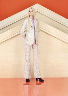 Look 18 - Lilac and silver birch bark print jacket and flared trousers and lilac silk shirt |  Alexander Lewis PreFall2013