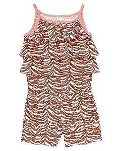 NWT Gymboree's Crazy 8 Girl's Sz S (5-6) Cotton, Ruffly Zebra Stripe Romper NEW