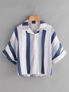 Casual Asymmetrical Striped Shirt Regular Fit Collar Half Sleeve Roll Up Sleeve Multicolor Contrast Striped High Low Cuffed Shirt Crop Top Outfits, Cute Casual Outfits, Stylish Outfits, Casual Wear, Teen Fashion Outfits, Cute Fashion, Fashion Black, Fashion Fashion, Fashion Ideas