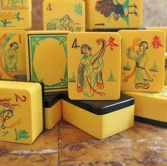 1930s Chinese Bakelite mahjong tiles.