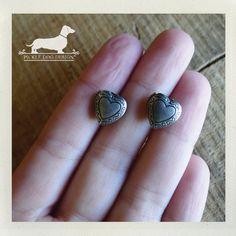 Little Love Locket Silver Heart Post Earrings  by PickleDogDesign, $8.00