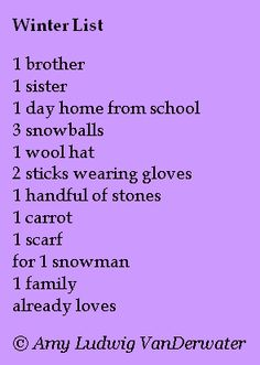 This list/story poem is from The Poem Farm, Amy Ludwig VanDerwater's ad-free, searchable blog full of hundreds of poems, poem mini lessons, and poetry ideas for home and classroom - www.poemfarm.amylv.com
